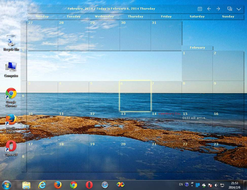 Desktop Calendar Windows 7 : Desktop calendar full windows screenshot