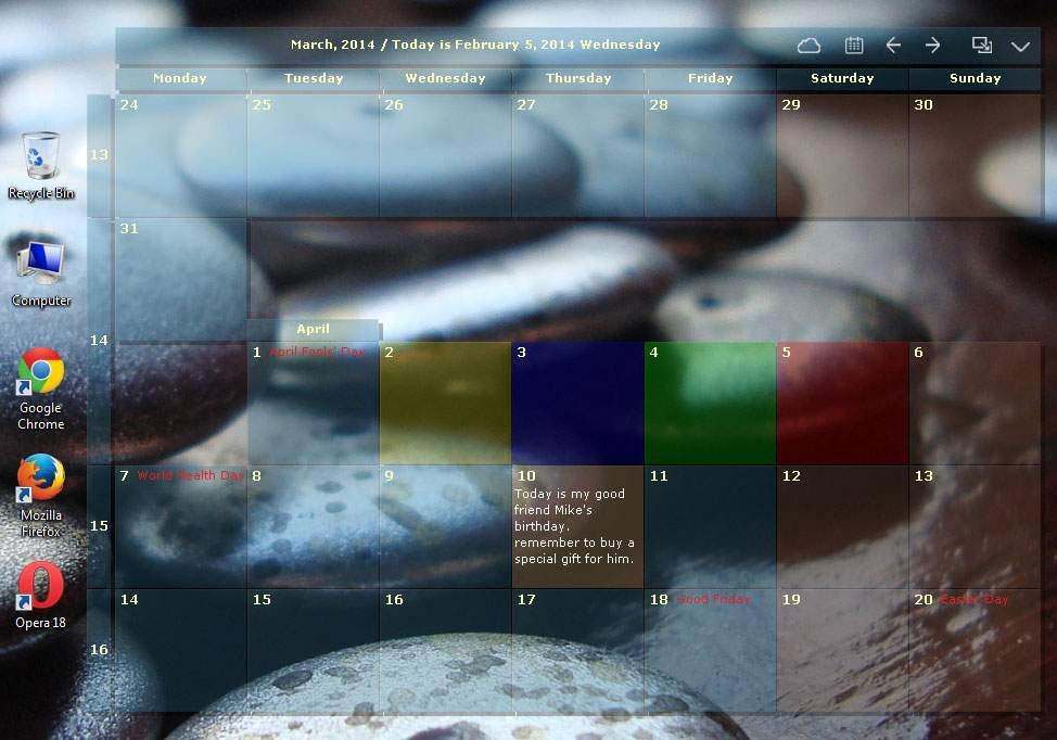 Full DesktopCal screenshot